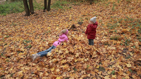 Cheerful siblings jumping in pile of autumn leaves Footage