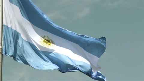 Argentina Flag against Blue Sky Image