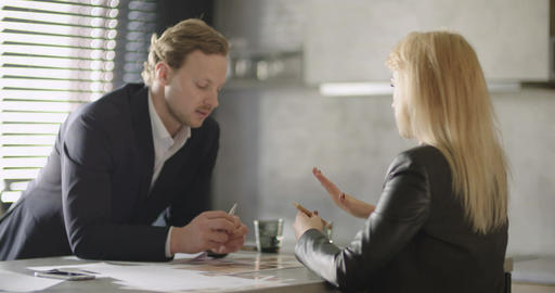 Business People Discussion In Office Footage
