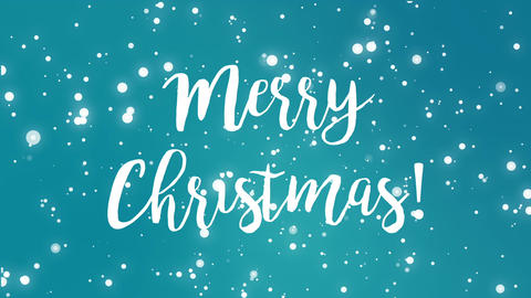 Teal blue Merry Christmas greeting card video Animation