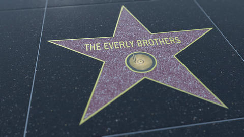 Hollywood Walk of Fame star with THE EVERLY BROTHERS inscription. Editorial clip Live Action