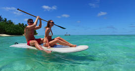 v11352 two 2 people romantic young people couple paddleboard surfboard with Live Action
