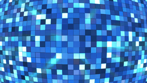 Broadcast Twinkling Hi-Tech Squares Globe, Blue, Abstract, Loopable, 4K Animation