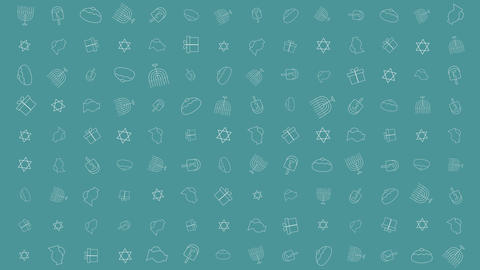Hanukkah holiday flat design animation background with traditional symbols CG動画素材