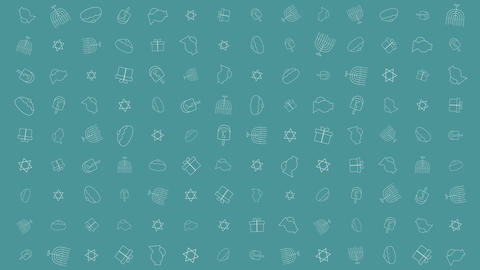 Hanukkah holiday flat design animation background with traditional symbols CG動画素材