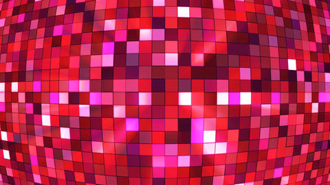 Broadcast Twinkling Hi-Tech Squares Globe, Red, Abstract, Loopable, 4K Animation