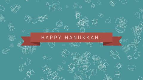 Hanukkah holiday flat design animation background with traditional symbols Animation