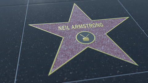 Hollywood Walk of Fame star with NEIL ARMSTRONG inscription. Editorial clip Footage