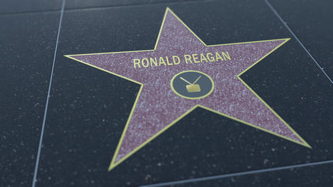 Hollywood Walk of Fame star with RONALD REAGAN inscription. Editorial clip Footage
