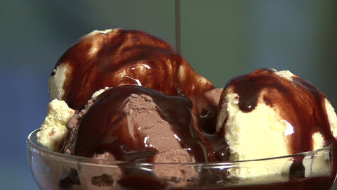 Ice cream and chocolate syrup Footage