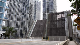 USA Florida Miami South Miami Avenue in downtown with opened bascule bridge Footage