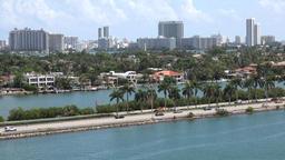 USA Florida Miami McArthur Causeway and Palm Island with Miami Beach skyline Footage