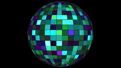Twinkling Hi-Tech Squares Spinning Globe, Turquoise, Events, Alpha Matte, Animation