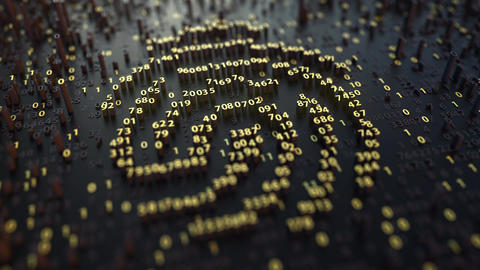 Fingerprint sign made of fluctuating golden numbers. Digital identity, electonic Footage