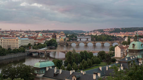 Sunrise in Prague, Czech Republic with city horizon, river and most famous Footage