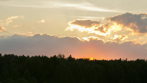 Sunset With Clouds Over The Forest Footage