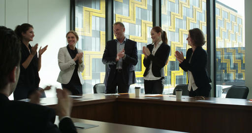 Business group clapping and smiling Footage