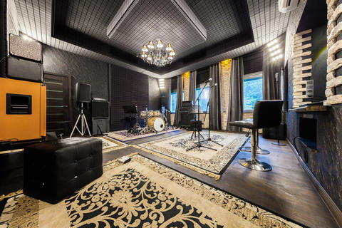the interior of the professional recording studio with musical i Fotografía