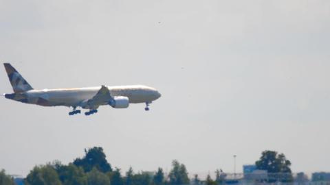Widebody airplane approaching before landing Footage