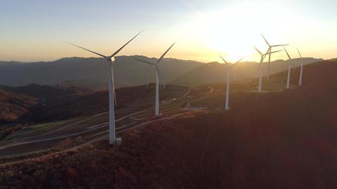 sunrise of wind power generation,Taebaek, ganwondo, korea,매봉산풍력발전 Footage