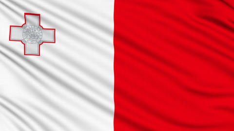 Maltese Flag, with real structure of a fabric Animation