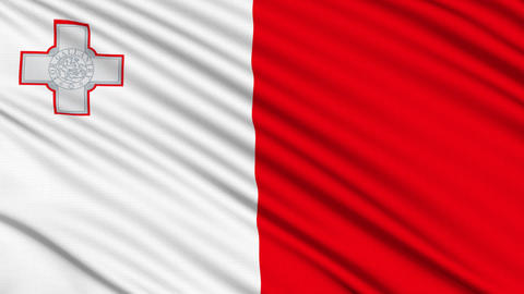 Maltese Flag, with real structure of a fabric Stock Video Footage