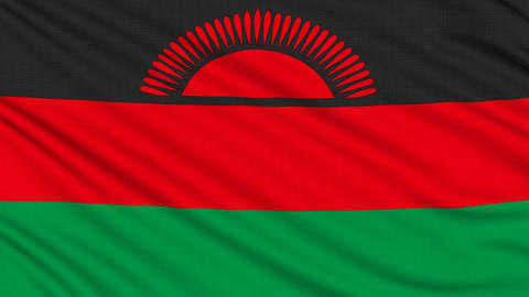 Malawi Flag, with real structure of a fabric Animation