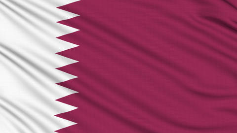 Qatar Flag, with real structure of a fabric Animation