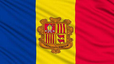 Andorra Flag, with real structure of a fabric Animation