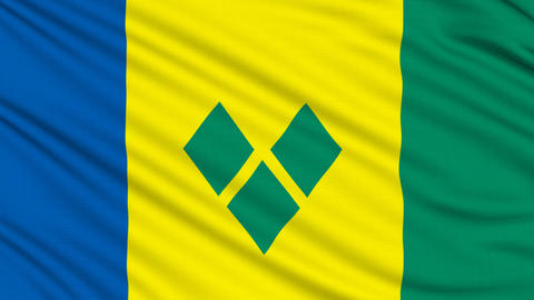 Saint Vincent and the Grenadines Flag, with real structure of a fabric Animation