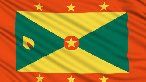 Grenada Flag, with real structure of a fabric Animation