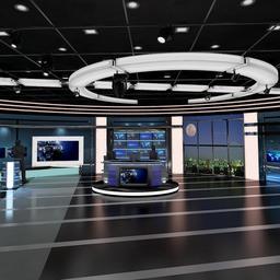 TV Virtual Stage News Room Studio 027 3D Model