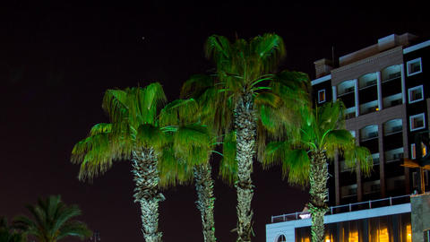 Night luxury resort Antalya Turkey Footage
