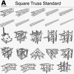 Square Truss Standard 004 3D Modell