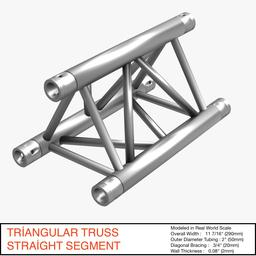 Triangular Truss Straight Segment 071 3D Model
