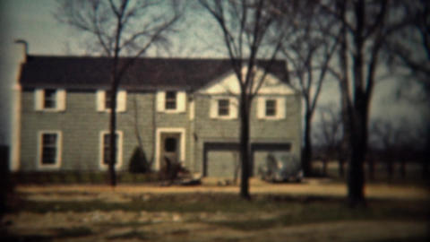 1937: Colonial style architecture modern house in wooded rural country Footage