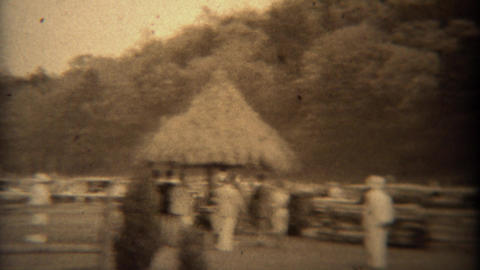 1937: Equestrian horse riding event steeplechase fence jumping event Footage