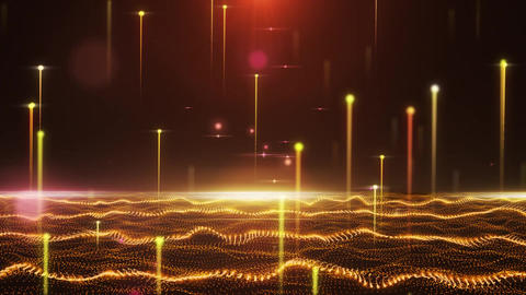 Abstract glamorous orange field with flying lines Animation