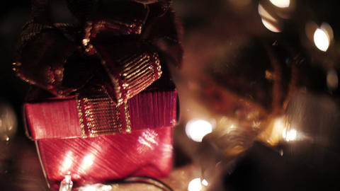 Christmas gift boxes and Christmas ball decoration with lights Footage