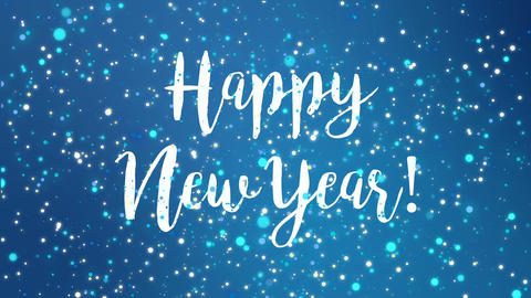 Sparkly blue Happy New Year greeting card video Animación