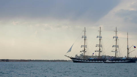 Big sailboat out to sea Image