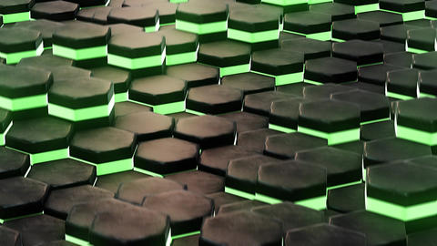 DJ background with animated neon green hexagon Stock Video Footage