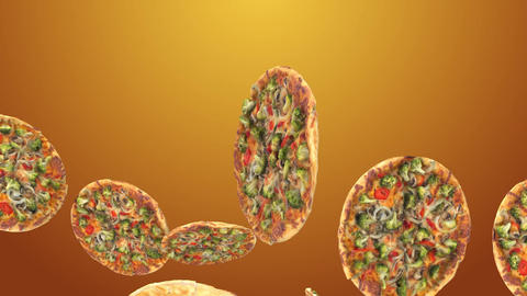 Background of flying pizza slices Archivo