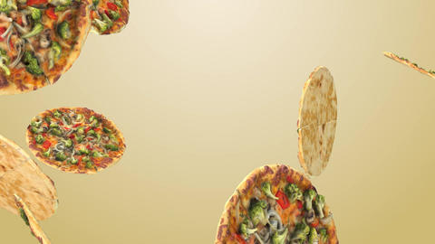 Background of flying pizza slices Animation