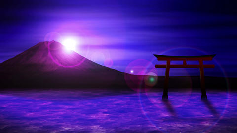 Red Torii Gates in Japan,Mt Fuji from Lake,CG Animation,Loop Animation