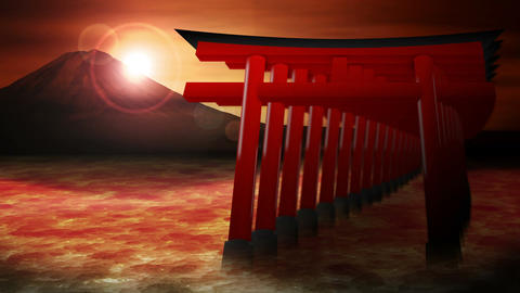 Red Torii Gates in Japan,Mt Fuji from Lake,CG Animation,Loop CG動画素材