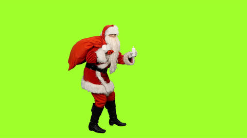 Santa Claus On Green Background 0