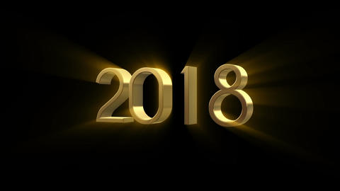 2018 New Year animation. Gold 3D animation Stock Video Footage