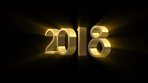 2018 New Year animation. Gold 3D animation Animation