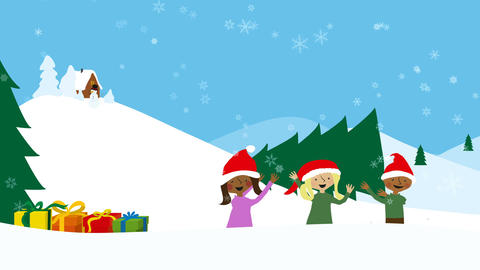 Children in snowy scenery. Animated christmas greeting Animación